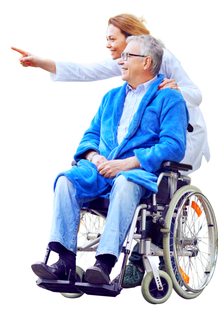 old man on the wheelchair talking to young woman